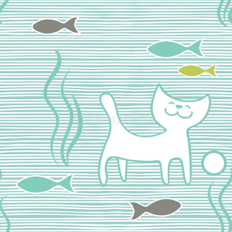 Vector o teste padrão sem emenda com os gatos e os peixes tirados mão no fundo listrado horisontal ilustração stock