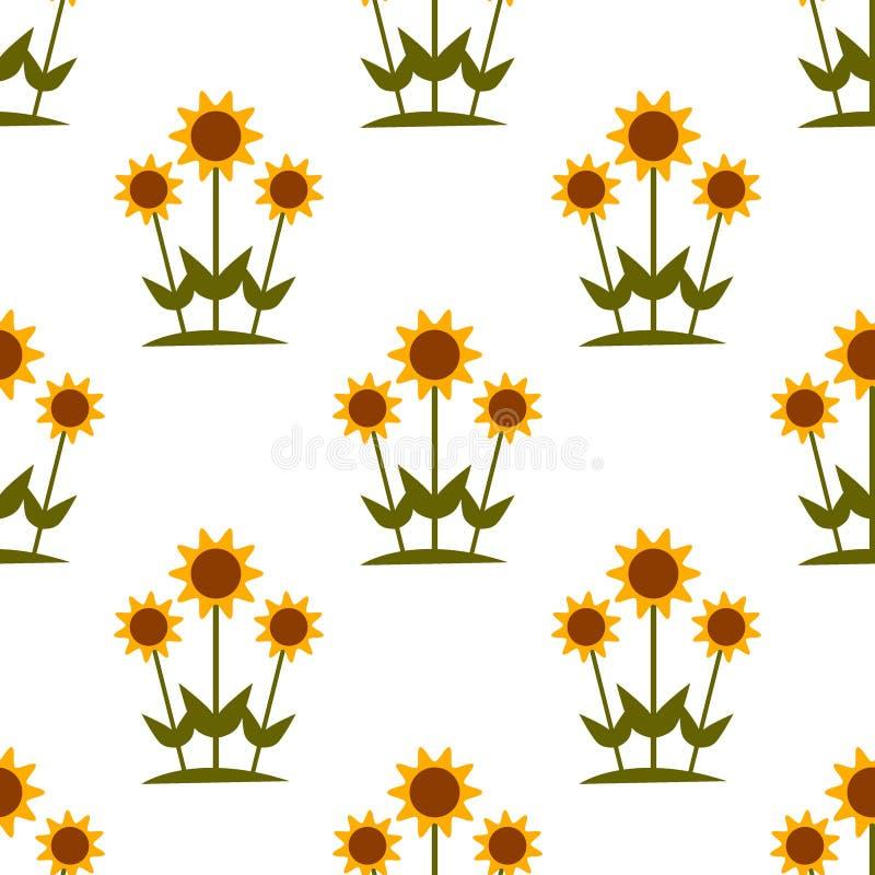 Vector o teste padrão sem emenda com os girassóis amarelos no fundo branco ilustração do vetor