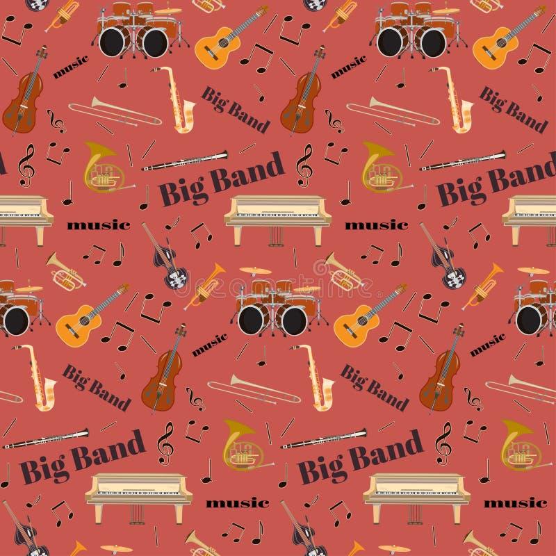 Vector o teste padrão sem emenda com os instrumentos musicais do big band do jazz ilustração royalty free