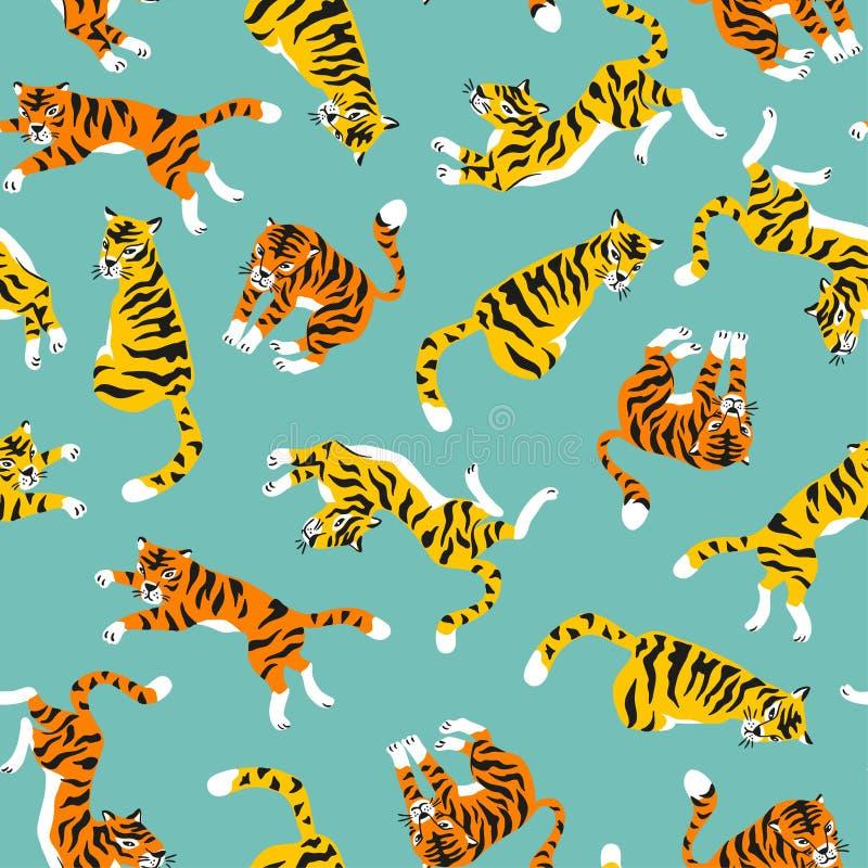 Vector o teste padrão sem emenda com os tigres isolados no fundo azul Fundo animal