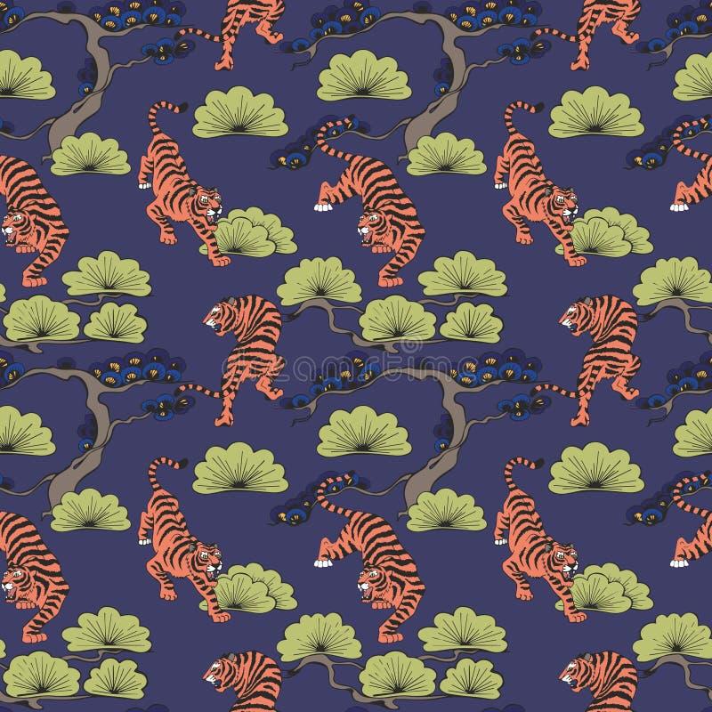 Vector o teste padrão sem emenda com os tigres no estilo japonês Desenho da mão Fundo decorativo para o projeto ilustração royalty free