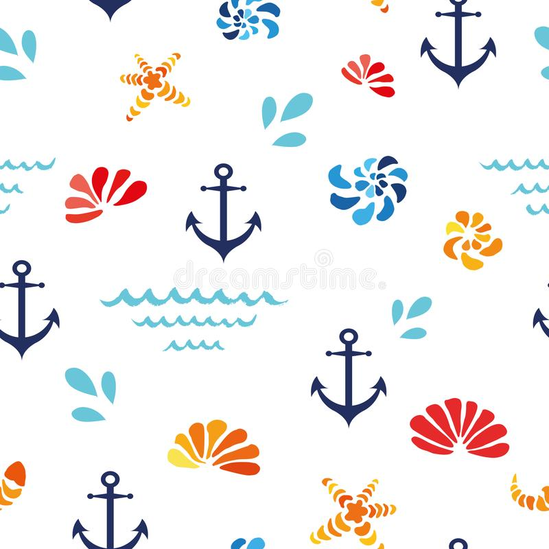 Vector o teste padrão sem emenda com shell do mar, onda, ancor Projeto do oceano, matéria têxtil, fundo ilustração royalty free