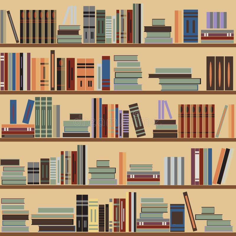 Vector o teste padrão sem emenda da estante, livros aleatórios em prateleiras, fundo bege ilustração royalty free