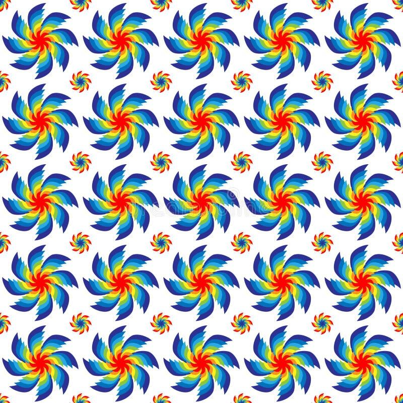Vector o teste padrão sem emenda da ilustração de girar cores brilhantes de todas as cores do arco-íris arranjado nas fileiras em ilustração royalty free