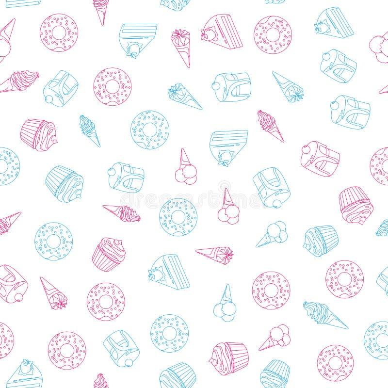Vector o teste padrão sem emenda da sobremesa dos doces no fundo branco ilustração do vetor