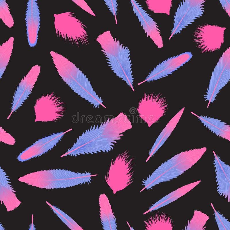 Vector o teste padrão sem emenda das penas do flamingo no fundo preto ilustração do vetor