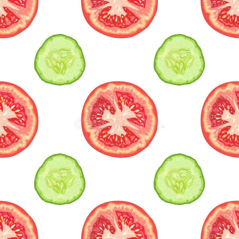Vector o teste padrão sem emenda de fatias do tomate e de fatias do pepino ilustração stock