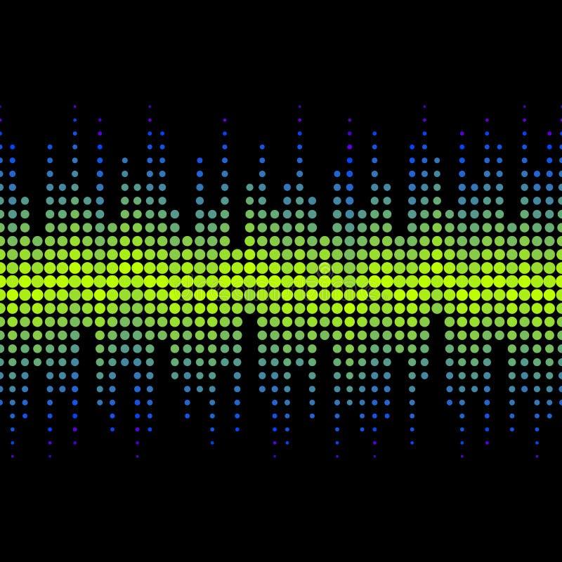 Vector o teste padrão sem emenda de intervalo mínimo em cores de néon brilhantes Efeito de sons dinâmico ilustração stock