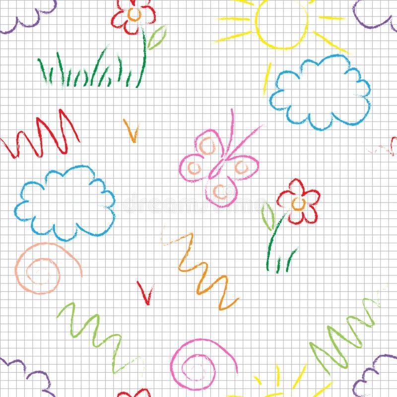 Vector o teste padrão sem emenda Desenhos bonitos da garatuja em um fundo branco ilustração royalty free