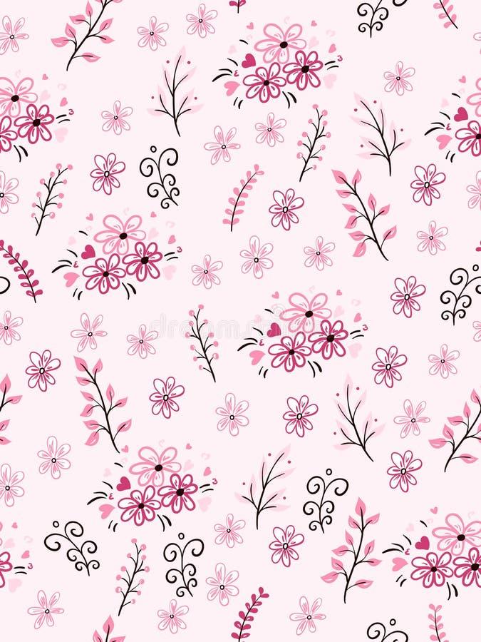 Vector o teste padrão sem emenda do amor do dia do ` s do Valentim dos ramos e das flores tirados mão da garatuja ilustração stock