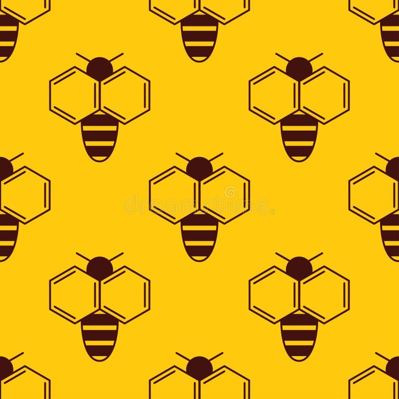 Vector o teste padrão sem emenda do logotipo da abelha no fundo do mel ilustração royalty free
