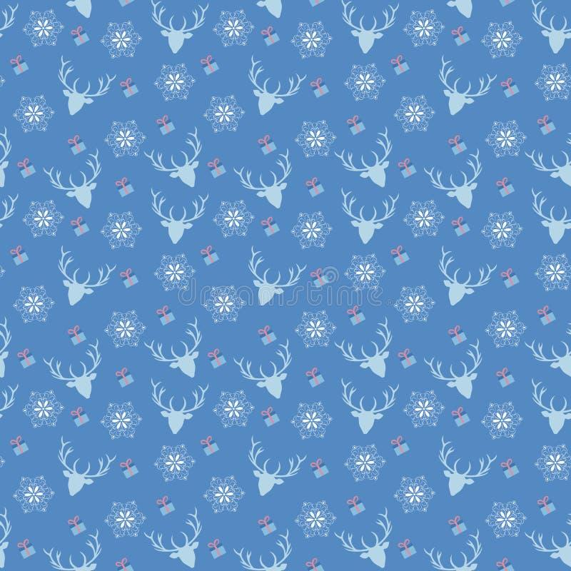 Vector o teste padrão sem emenda do Natal com cervos, floco de neve e presente imagens de stock royalty free