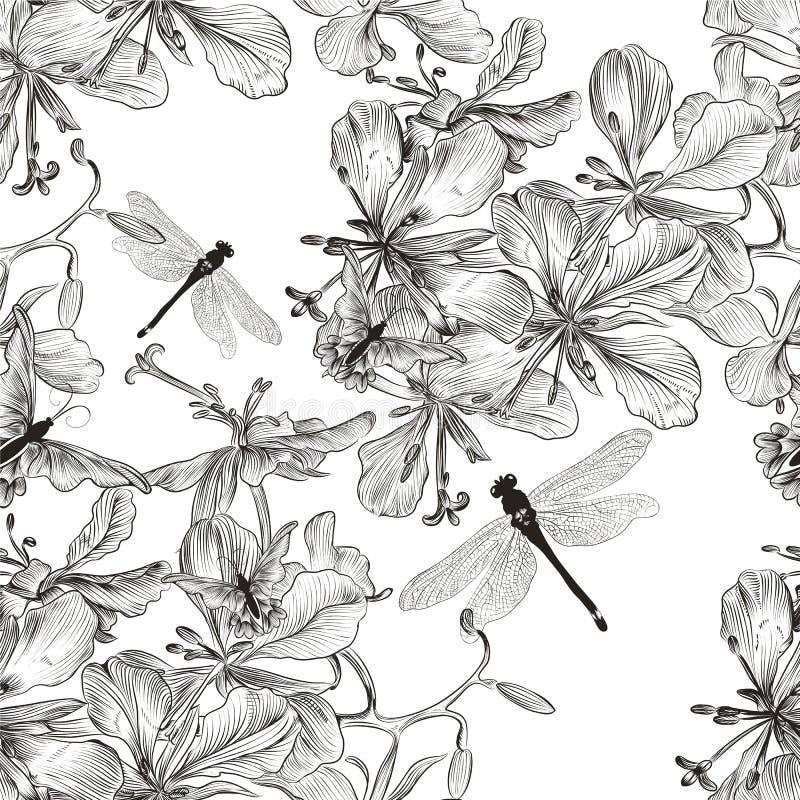 Vector o teste padrão sem emenda do papel de parede com as flores no co monocromático ilustração royalty free