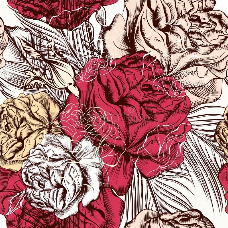 Vector o teste padrão sem emenda do papel de parede com as rosas no estilo do vintage ilustração do vetor