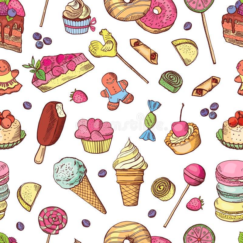 Vector o teste padrão sem emenda dos doces, do gelado, do bolo e de outros doces diferentes Ilustrações desenhadas mão ilustração stock