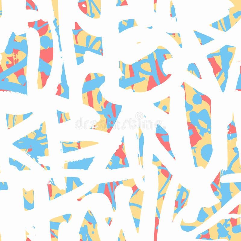 Vector o teste padrão sem emenda dos grafittis com t brilhante colorido abstrato ilustração do vetor