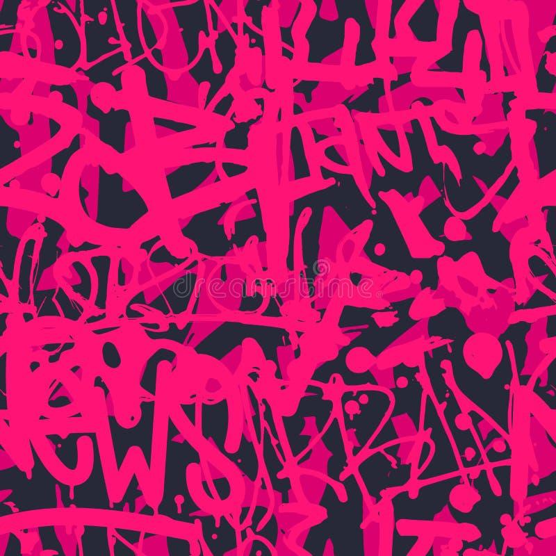 Vector o teste padrão sem emenda dos grafittis com t brilhante colorido abstrato ilustração stock