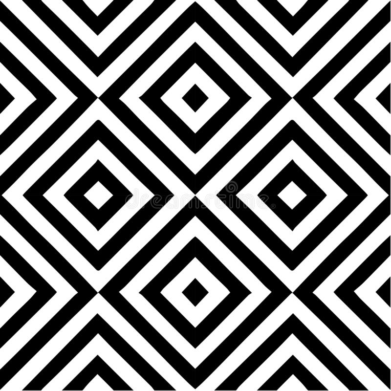 Vector o teste padrão sem emenda Elemento decorativo, molde do projeto com linhas inclinados diagonais preto e branco listradas F ilustração stock