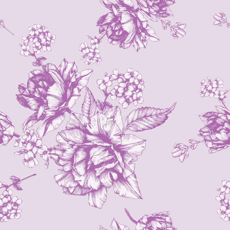 Vector o teste padrão sem emenda floral com tulipas e flores do jasmim ilustração do vetor