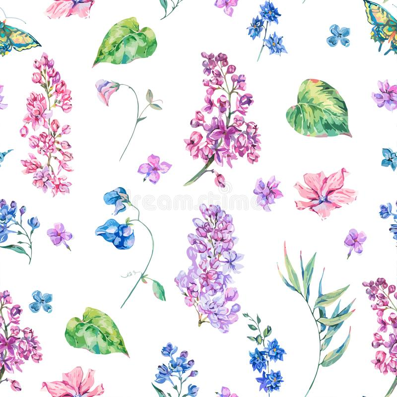 Vector o teste padrão sem emenda floral do vintage com lilás cor-de-rosa ilustração stock