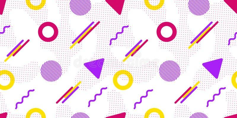Vector o teste padrão sem emenda Formas geométricas de Memphis Fundo abstrato no estilo na moda Textura repetida moderna Violeta, ilustração royalty free