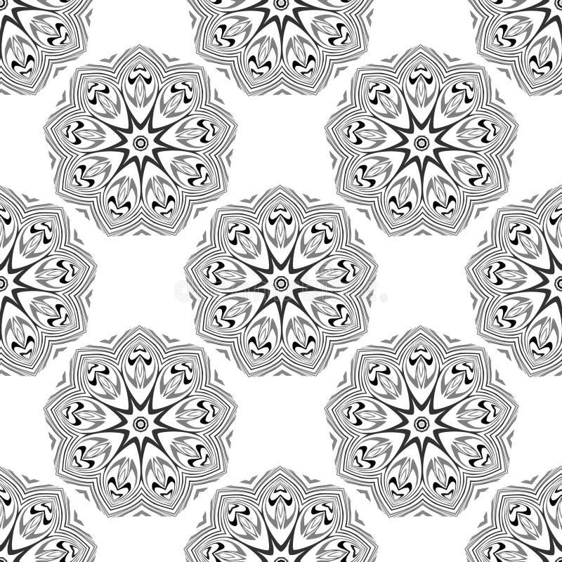 Vector o teste padrão sem emenda Fundo à moda floral Textura de repetição monocromática com as flores geométricas lineares ilustração stock