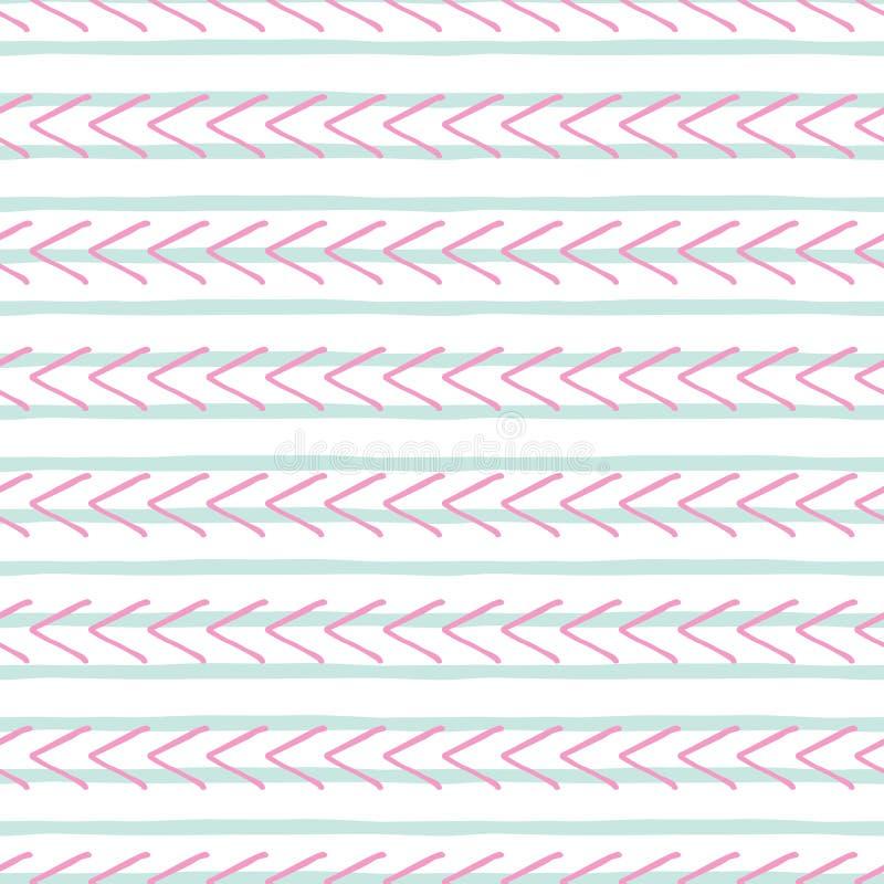 Vector o teste padrão sem emenda geométrico cor-de-rosa e azul tirado mão ilustração royalty free