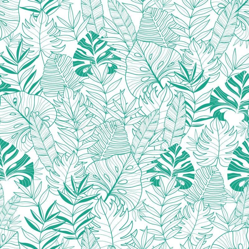 Vector o teste padrão sem emenda havaiano do verão tropical verde das folhas com as plantas verdes e as folhas tropicais em azuis ilustração stock
