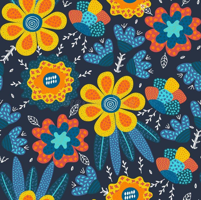 Vector o teste padrão sem emenda Mão abstrata flores tiradas com texturas diferentes Composição floral Estilo a mão livre ilustração do vetor