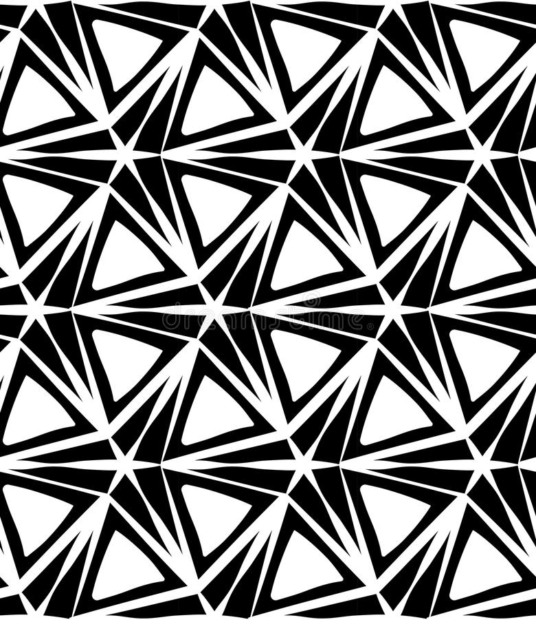 Vector o teste padrão sem emenda moderno da geometria estrela de três pontos, sumário preto e branco ilustração stock