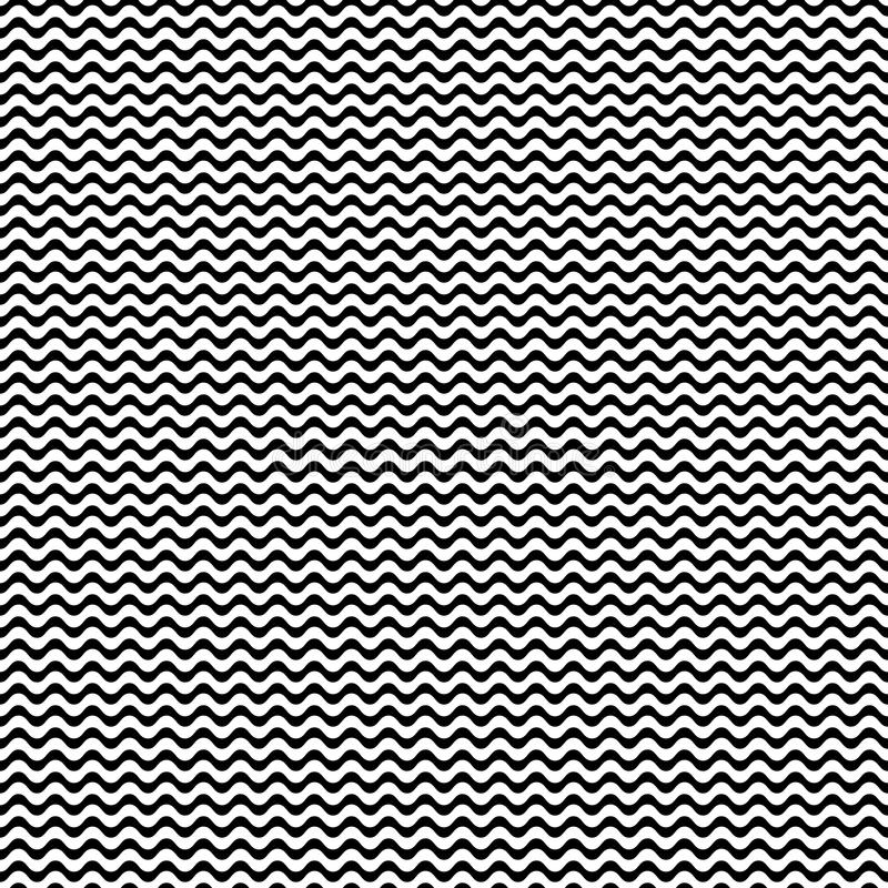 Vector o teste padrão sem emenda monocromático, linhas onduladas simples ilustração do vetor