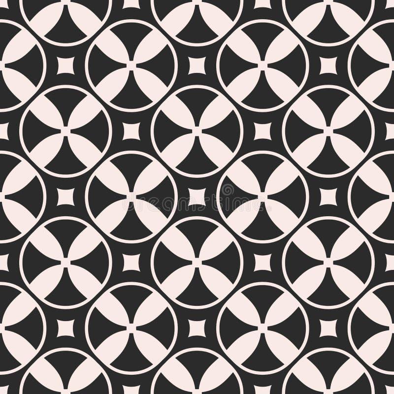 Vector o teste padrão sem emenda, mosaico monocromático, tex geométrico simples ilustração do vetor
