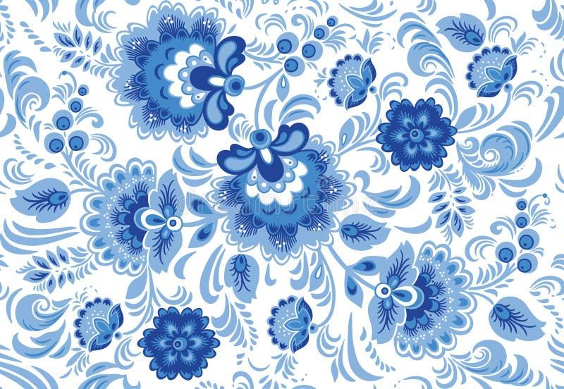 Vector o teste padrão sem emenda no estilo tradicional do gzhel do russo ilustração royalty free