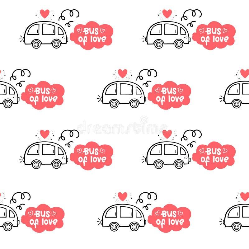 Vector o teste padrão sem emenda para o dia do ` s do Valentim O ônibus do amor Estilo desenhado à mão Estilo dos desenhos animad ilustração do vetor