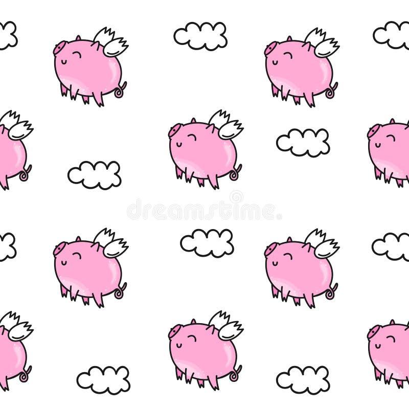 Vector o teste padrão sem emenda para o dia do ` s do Valentim Porco cor-de-rosa bonito Rabiscar o estilo, fundo dos desenhos ani ilustração royalty free