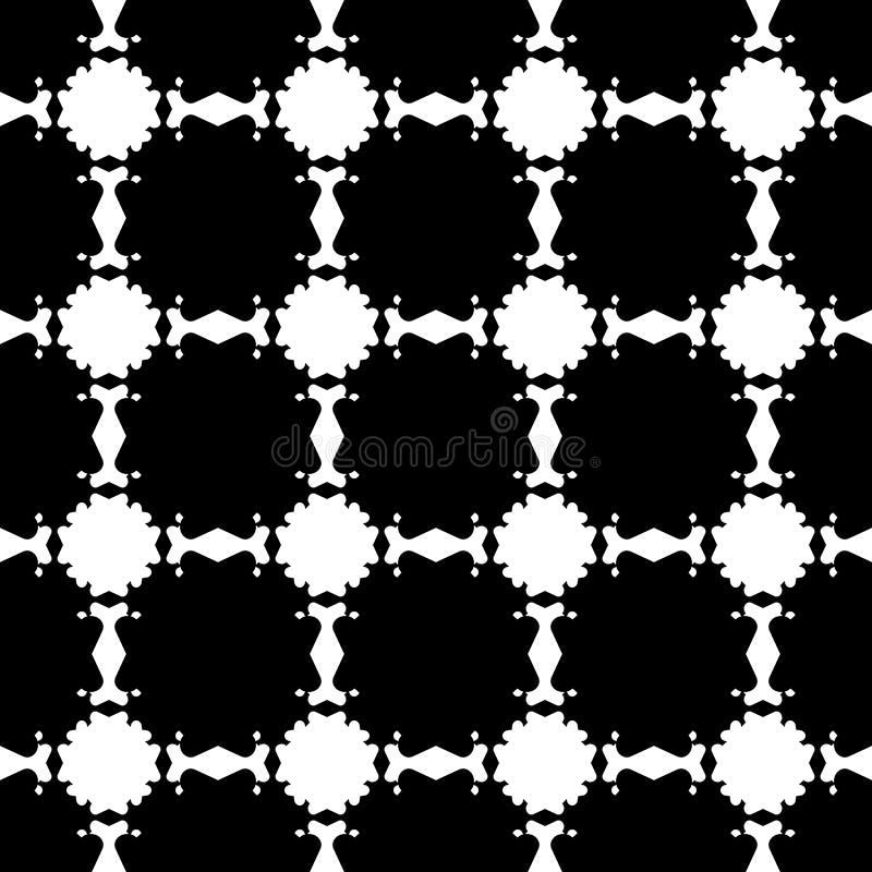 Vector o teste padrão sem emenda preto & branco floral abstrato ilustração do vetor