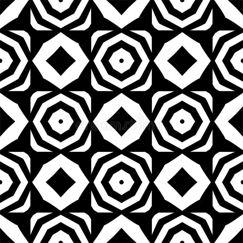 Vector o teste padrão sem emenda preto e branco do octógono e do rombo, projeto abstrato simples ilustração royalty free