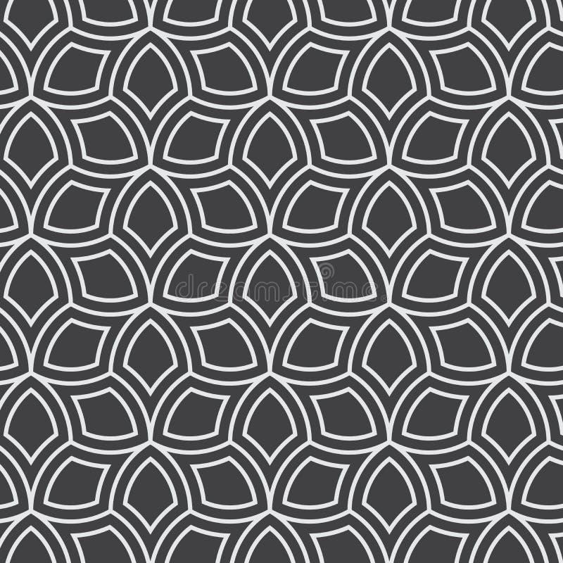 Vector o teste padrão sem emenda Projeto gráfico monocromático Folhas geométricas decorativas Fundo floral regular com pétalas el ilustração do vetor