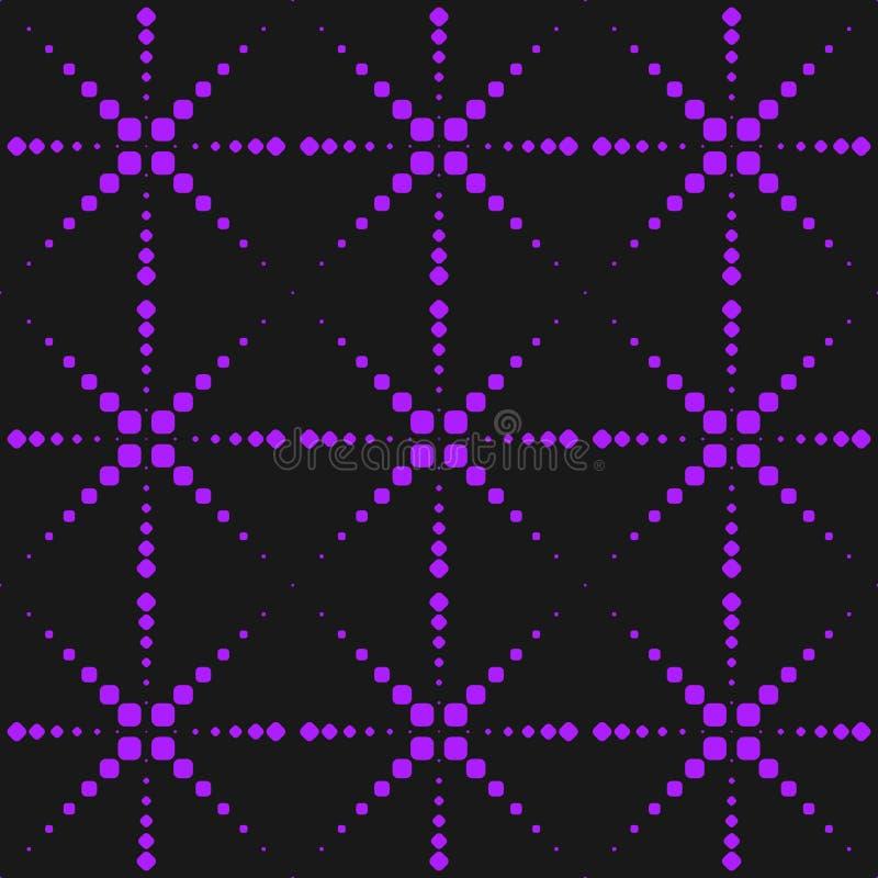 Vector o teste padrão sem emenda roxo de néon com pontos, sparkles, fogos-de-artifício, linhas transversais Estilo extremo do esp ilustração royalty free
