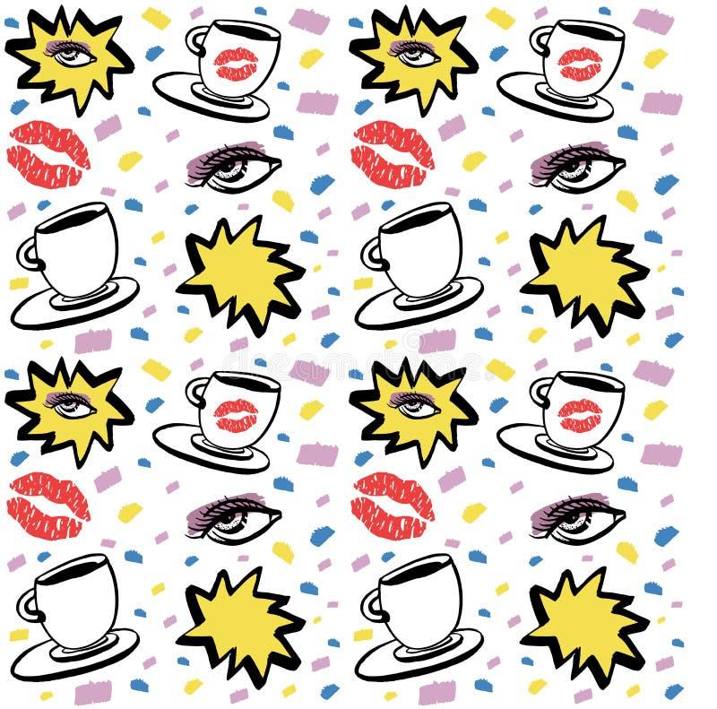 Vector o teste padrão sem emenda tirado mão da tinta com olho da mulher, os olhos fechados e o copo de café com batom Projeto col ilustração stock