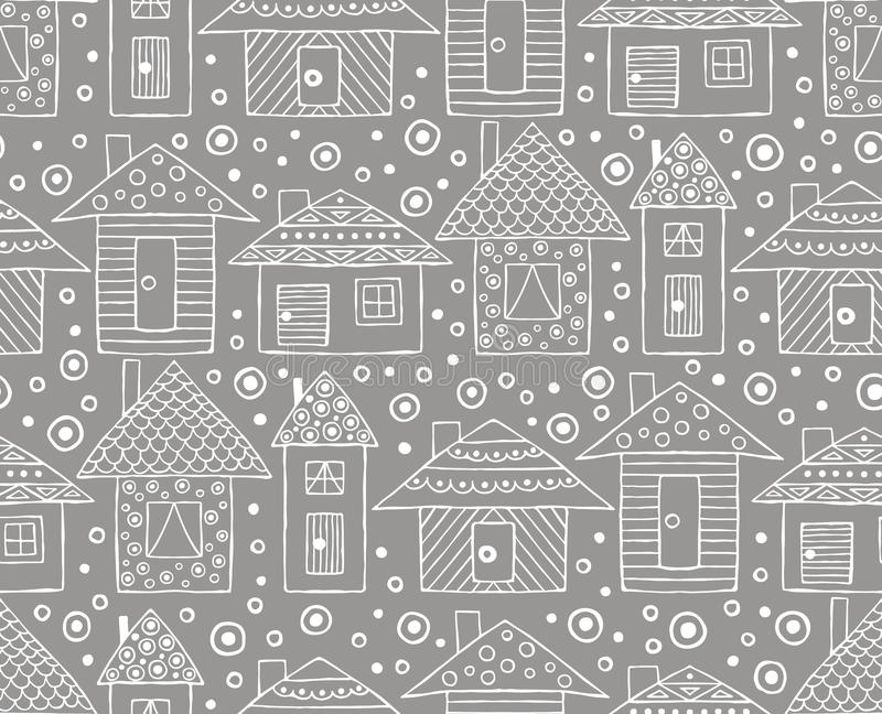 Vector o teste padrão sem emenda tirado mão, a lápis criançola estilizado decorativo estilo das casas da garatuja do desenho, Orn ilustração stock