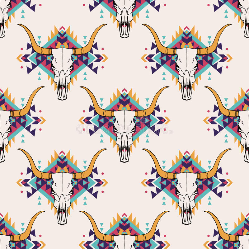 Vector o teste padrão sem emenda tribal com crânio do touro e o ornamento étnico decorativo ilustração do vetor