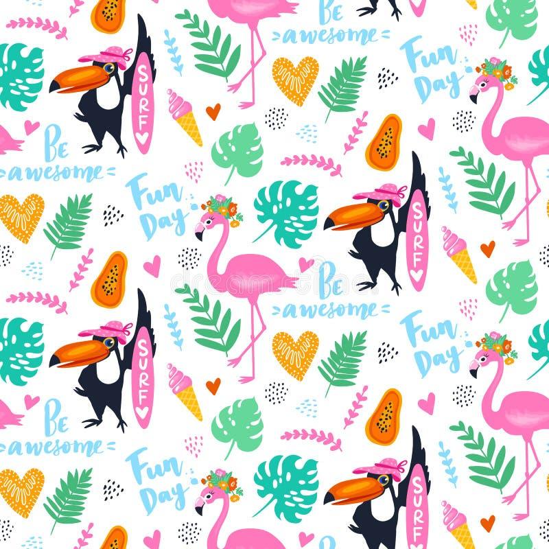 Vector o teste padrão sem emenda tropical com flamingo cor-de-rosa, tucano, folhas do trópico Fundo exótico ilustração do vetor