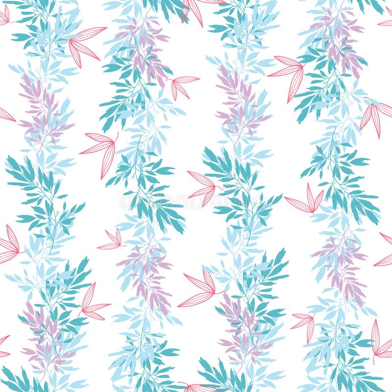 Vector o teste padrão sem emenda vertical do verão tropical cor-de-rosa azul das folhas ilustração royalty free