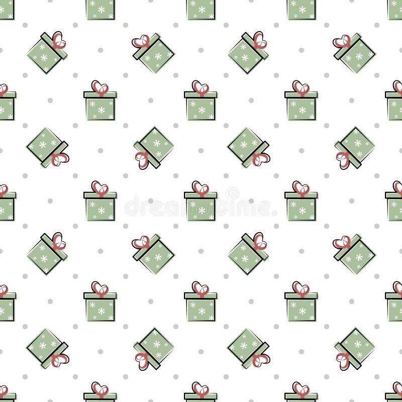Vector o teste padrão simples das caixas, presentes em um fundo branco ilustração stock