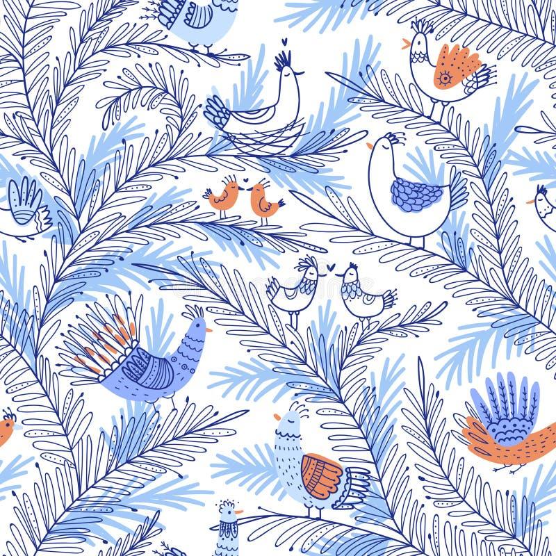 Vector o teste padrão tropical sem emenda com os pássaros na árvore no amor ilustração royalty free
