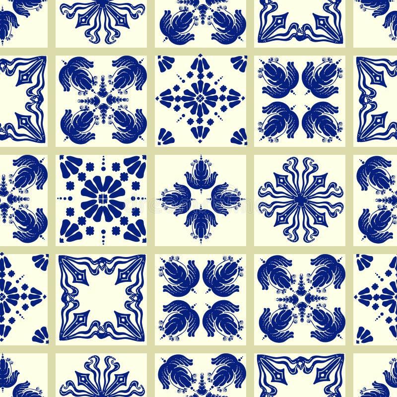 Vector o teste padr?o da telha, mosaico floral de Lisboa, ornamento sem emenda mediterr?neo dos azuis marinhos ilustração do vetor