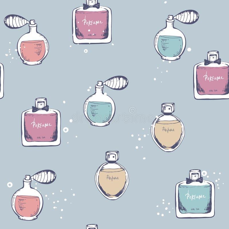 Vector o teste padr?o sem emenda Garrafa do perfume Ilustra??o engra?ada bonito tirada m?o da forma Esbo?o da garatuja Elementos  ilustração stock