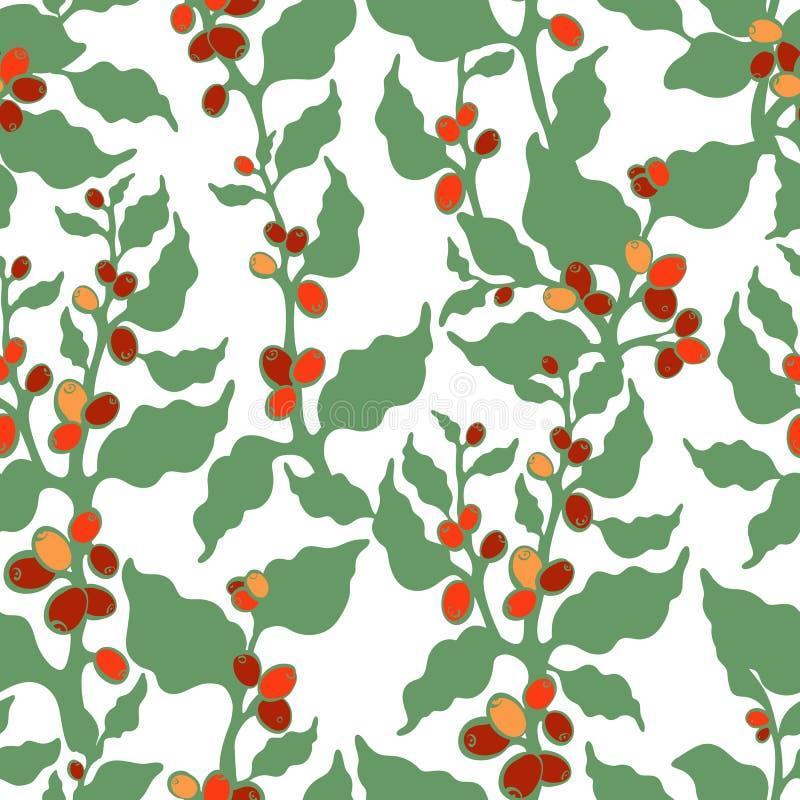 Vector o teste padr?o sem emenda ?rvore de caf? verde, feij?o Papel de parede floral da arte ilustração do vetor