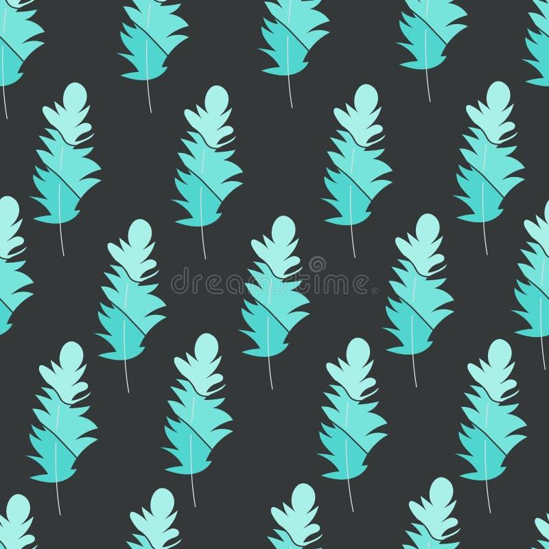 Vector o teste padr?o sem emenda com penas Cópia à moda, textura, fundo Cores macias da natureza Elementos tirados mão de turques ilustração stock